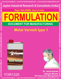 FORMULA OF METAL VARNISH VARNISH TYPE 1 (FOR 1225)