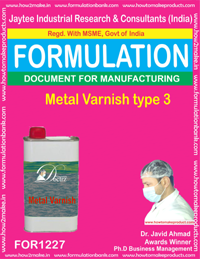 FORMULA OF METAL VARNISH VARNISH TYPE 3 (FOR 1227)