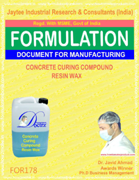 formula for concrete curing compound resin wax type