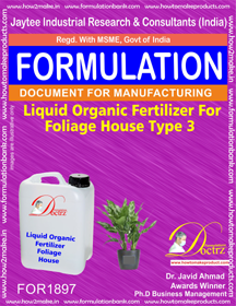 Liquid organic fertilizer for foliage house type 3 (FOR1897)