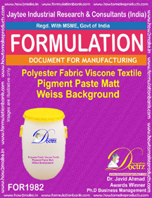 Polyester ,viscone pigment paste formula for Weiss background 1