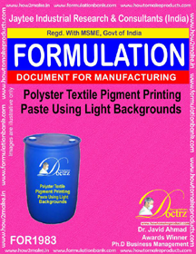 Polyester ,viscone pigment paste formula for light background