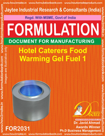 Hotel Caterers Food Warming Gel Fuel 1 (Formula 2031 )