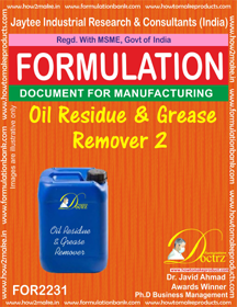 Formula of Oil Residue & Grease Remover 2(FOR 2231)