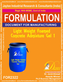 Light weight Foamed concrete admixture Gel-1 (FOR 2322)