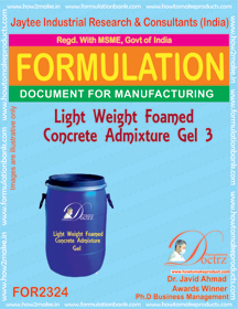 Light weight Foamed concrete admixture Gel-3 (FOR 2324)