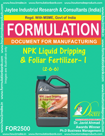 NPK Liquid Dripping & Foliar Fertilizer – I (2-6-6) FOR 2500