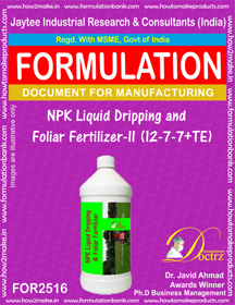 NPK Liquid Dripping and Foliar Fertilizer ) FOR 2516