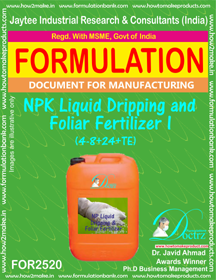 NPK Liquid Dripping and Foliar Fertilizer -I (4-8+ 24 +TE)