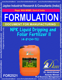 NPK Liquid Dripping and Foliar Fertilizer -II (4-8+ 24 +TE)