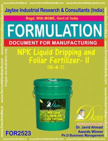 NP K Liquid Dripping and Foliar Fertilizer -II (10-4-7)FOR 2523