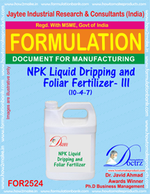 NPK Liquid Dripping and Foliar Fertilizer -III (10-4-7) FOR 2524