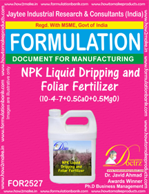 NPK Liquid Dripping and Foliar Fertilizer (10-4-7+CaO) FOR 2526