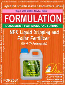 NPK Liquid Dripping and Foliar Fertilizer (10-4-7 + Aminoacids)