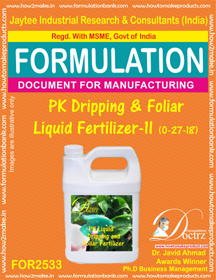 PK Dripping and Foliar Fertilizer Liquid -II (0-27-18 )FOR 2533