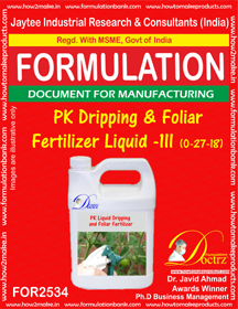 PK Dripping and Foliar Fertilizer Liquid -III (0-27-18 )FOR 2534