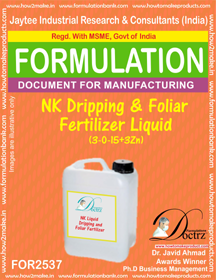 NK Dripping and Foliar Fertilizer Liquid (3-0-15+3Zn) FOR 2537