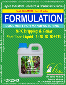 NPK Dripping & Foliar Fertilizer Liquid -II (10-10-10 + TE)