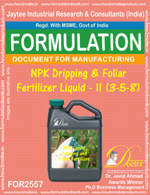 NPK Dripping and Foliar Fertilizer Liquid-II (3-5-8)FOR 2557