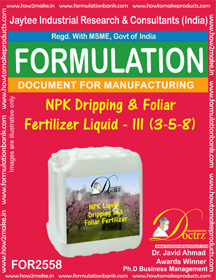NPK Dripping and Foliar Fertilizer Liquid-III (3-5-8))FOR 2558