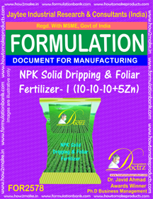 NPK Solid Dripping and Foliar Fertilizer-I (10-10-10+5Zn)FOR2578