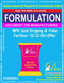NPK Solid Dripping and Foliar Fertilizer(12 – 12 – 36+2Mn) 2603