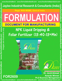 NPK Liquid Dripping and Foliar Fertilizer-I(13–40-13+Mn)FOR2609