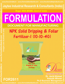 NPK solid Dripping and Foliage Fertilizer-I(10–10-40) I FOR2611