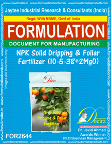 NPK solid Dripping & Foliage Fertilizer 10-5-38+2MgO ( FOR 2644)
