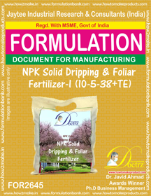 NPK solid Dripping & Foliage Fertilizer I 10-5-38+TE ( FOR 2645)