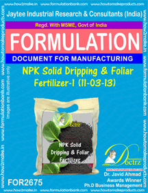 NPK solid Dripping & Foliage Fertilizer I(11-3-13)FOR 2675