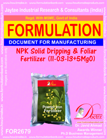 NPK solid Dripping & Foliage FertilizeR(11-3-13+5MgO)FOR 2679
