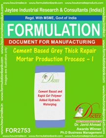 Cement Based Grey Thick Repair Mortar Production Process – I