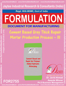 Cement Based Grey Thick Repair Mortar Production Process – III