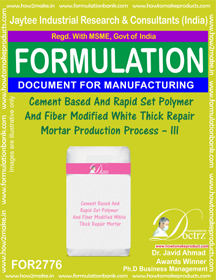 Cement Based & Rapid Set Polymer And Fiber Modified White Thick