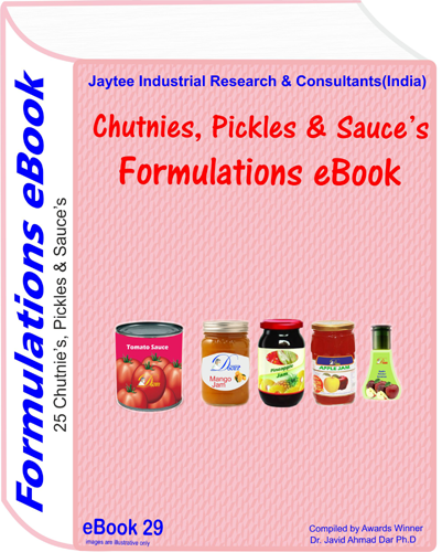Chutney, Pickle's, Sauces recipes Formulations eBook (eBook29)