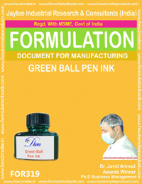 Green ball pen ink formula No 319