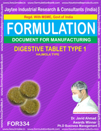 Digestive tablet type 1(hzmola type) formula No 334