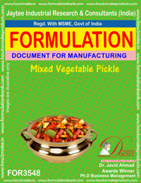 Mixed Vegetable Pickle Formula Recipe (FOR 3548)