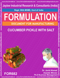 FORMULA FOR CUCUMBER PICKLE WITH SALT (FORMULA 682)