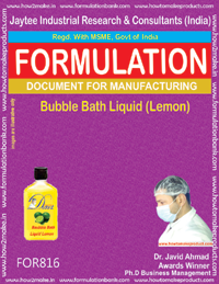 Bubble Bath Liquid Lemon Formulation (For816)